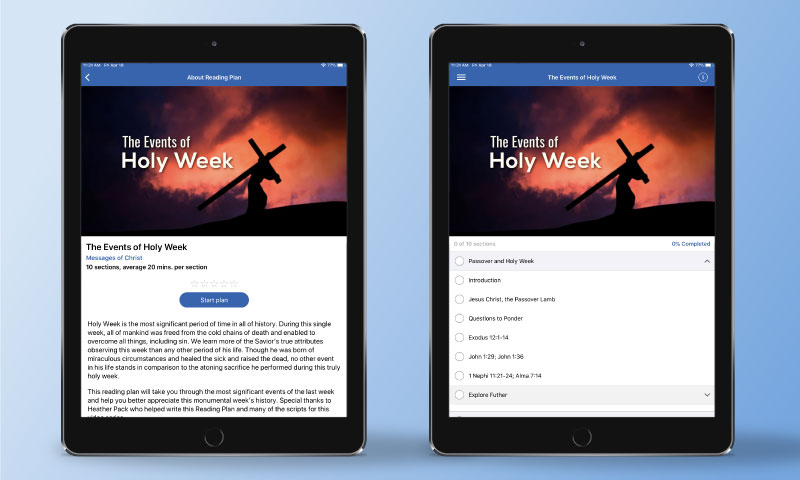 Screenshots from ScripturePlus of a Reading Plan's info page and home screen.