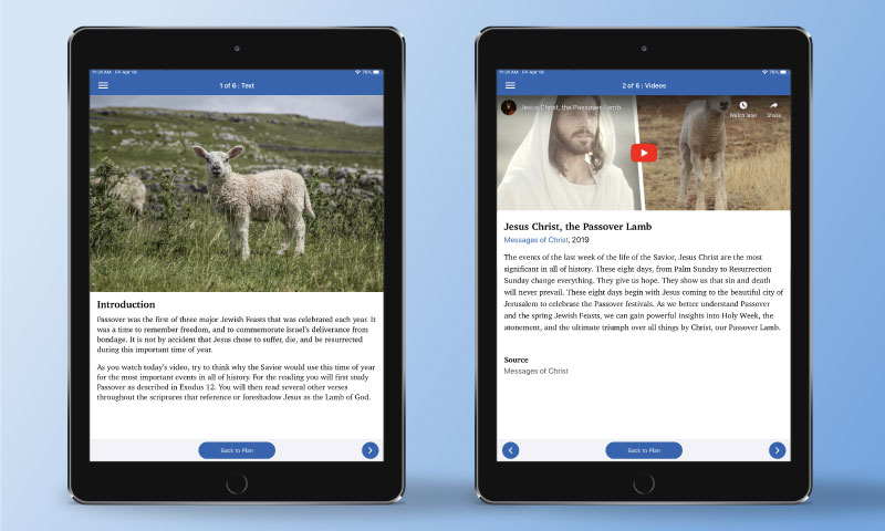 Screenshots from ScripturePlus of reading assignments such as scriptures, videos, and questions to ponder.